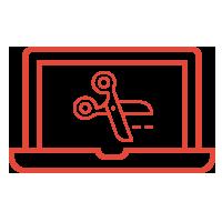디자이너 노트북 가위 아이콘
