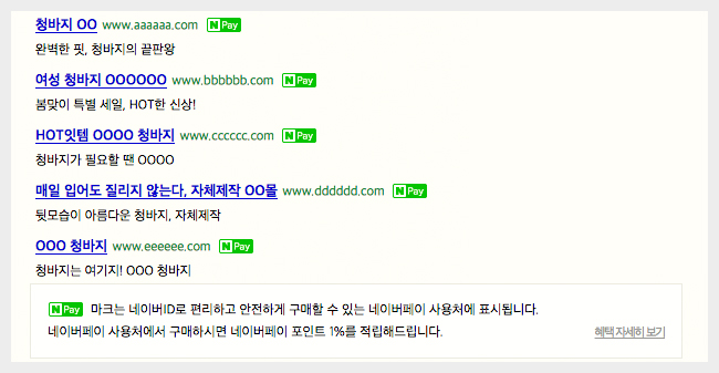 네이버 검색결과에 네이버페이 아이콘 노출